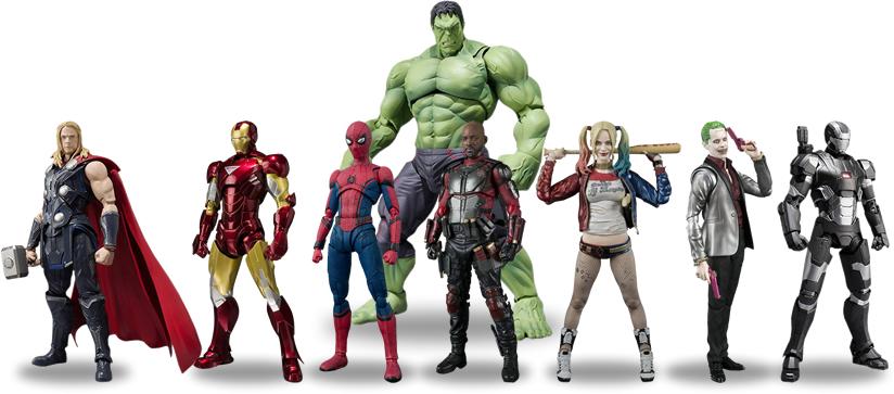 Bandai - SH Figuarts - Alguns actions figures Marvel e DC Comics